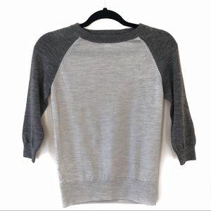 J. Crew Merino Wool 3/4 Sleeve Raglan Sweater XS